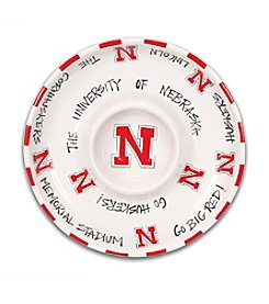 University of Nebraska Magnolia Lane Circle Chip & Dip Plate