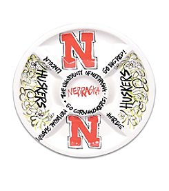 University of Nebraska Magnolia Lane Divided Veggie Plate
