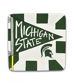 Michigan State University Magnolia Lane Small Flag Square Plate