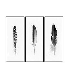 Set of Three Black and White Feathers Framed Art