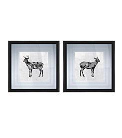 Black and White Deer Framed Art