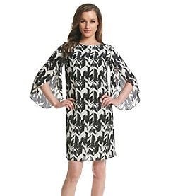 AGB® Chevron Print Chiffon Dress