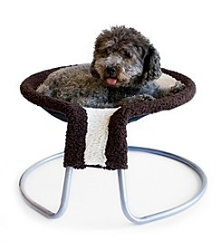 DanaZoo Beige Fleece Rimmed Deluxe Pet Napper Chair Bed