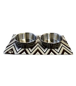 DanaZoo Golden Waves Mat with 2 Stainless Steel Bowls