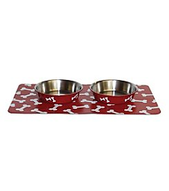 DanaZoo Crimson Bones Mat with 2 Stainless Steel Bowls