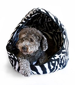 DanaZoo Black Leopard Open Hooded Pet Bed