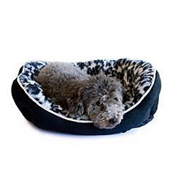 DanaZoo Black Faux Suede Bottom Animal Print Pet Bed