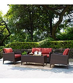 Crosley Furniture Kiawah Outdoor Wicker Seating Set with Sangria Cushions