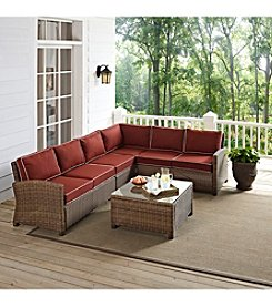 Crosley Furniture Bradenton Outdoor Wicker Sectional Seating Set with Sangria Cushions