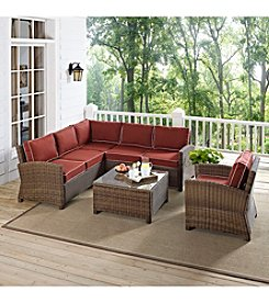 Crosley Furniture Bradenton 5-pc. Outdoor Wicker Seating Set with Sangria Cushions