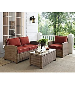 Crosley Furniture Bradenton Outdoor Wicker Seating Set with Sangria Cushions
