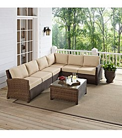 Crosley Furniture Bradenton Outdoor Wicker Sectional Seating Set with Sand Cushions