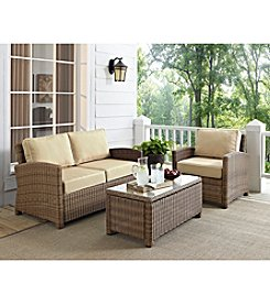 Crosley Furniture Bradenton Outdoor Wicker Seating Set with Sand Cushions