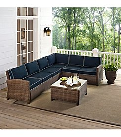 Crosley Furniture Bradenton Outdoor Wicker Sectional Seating Set with Navy cushions
