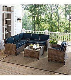 Crosley Furniture Bradenton 5-pc. Outdoor Wicker Seating Set with Navy Cushions