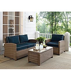 Crosley Furniture Bradenton Outdoor Wicker Seating Set with Navy Cushions