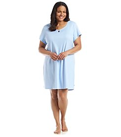 KN Karen Neuburger Plus Size Powder Blue Dot Sleepshirt