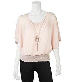 A. Byer Smocked Top With Necklace