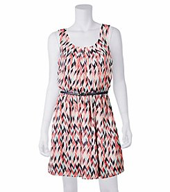 A. Byer Chevron Printed Pleated Dress