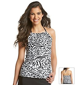 J. Valdi® Animal Print High Neck Tankini