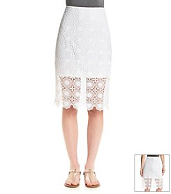 Kensie® Open Floral Lace Midi Skirt