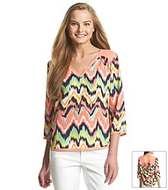 Sequin Hearts® Chevron Printed Top