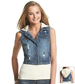 Wallflower® Denim Vest With Crochet Hood