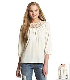 Eyeshadow® Crochet Neck Peasant Top