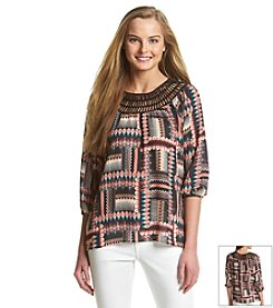 Eyeshadow® Geo Print Peasant Top