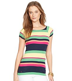 Lauren Jeans Co.® Striped Cotton Ballet-Neck Top