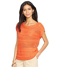 Lauren Ralph Lauren® Open-Knit Shimmer Sweater Top