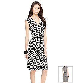 Lauren Ralph Lauren® Chevron Jersey Surplice Dress