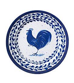 LivingQuarters Melamine Blue Rooster Dinner Plate