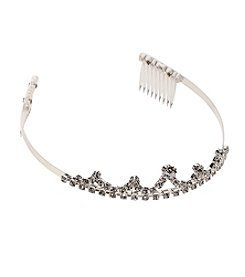 BT-Jeweled Small Silvertone and Rhinestone Tiara