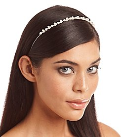 BT-Jeweled Skinny Silvertone Rhinestone and Simulated Pearl Headband
