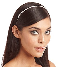 BT-Jeweled Skinny Silvertone and Rhinestone Headband