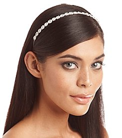 BT-Jeweled Skinny Silvertone and Rhinestone Flower Headband
