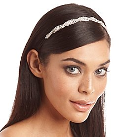 BT-Jeweled Silvertone and Rhinestone Wavy Stretch Headband