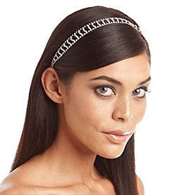 BT-Jeweled Silvertone and Rhinestone Open Work Stretch Headband