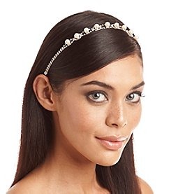 BT-Jeweled Skinny Silvertone Embellished Stretch Headband