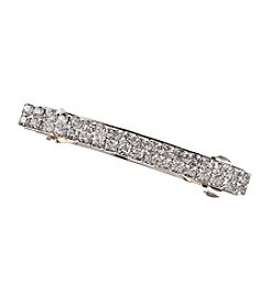 BT-Jeweled Silvertone and Rhinestone Hair Barette