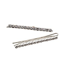 BT-Jeweled Silvertone and Rhinestone Bobby Pins