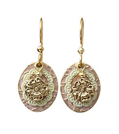 Silver Forest® Goldtone Framed Flower On Oval Earrings