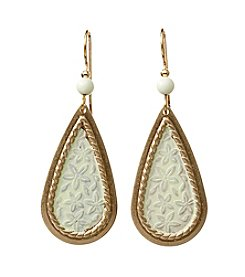 Silver Forest® Goldtone Rope Framed Green Earrings