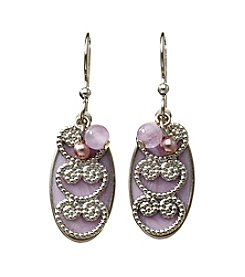 Silver Forest® Silvertone Filigree On Purple Oval Earrings