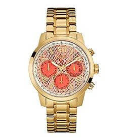 GUESS Women's Goldtone Sunrise Python Classic Sport Watch