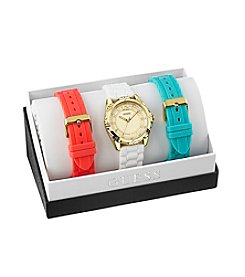Guess Women's Goldtone Intrepid Glitz Sport Watch with 3 Interchangeable Straps