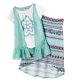 Beautees Girls' 4-6X Flower Tee With Vest And Skirt Set