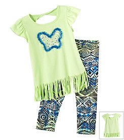 Beautees Girls' 4-6X Fluttersleeve Top With Leggings Set