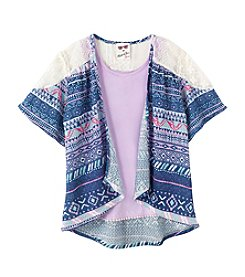 Belle du Jour Girls' 7-16 Kimono With Tank Set
